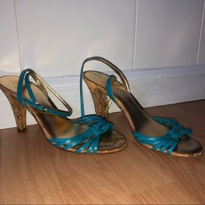 COACH Gianna Blue & Gold Ankle Strap Heels